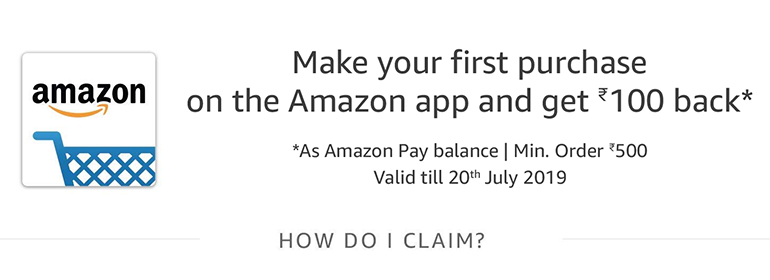 [ New User ] Make Your First Purchase On Amazon App get Rs.100 Back On Min 500 Purchase