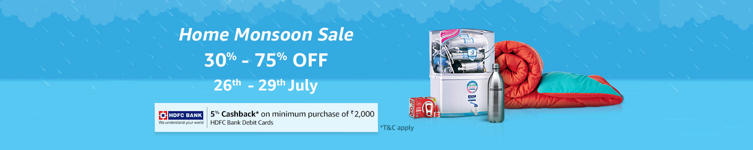 Home Monsoon Sale - Upto 75% off on Monsoon essentials