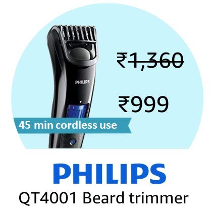 Philips Beard Trimmer Cordless for Men QT4001/15 (With Adapter)