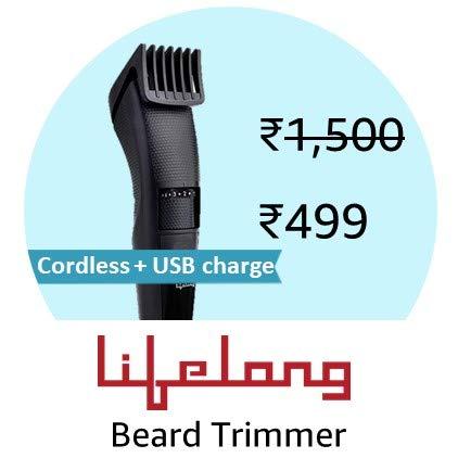 Lifelong LLPCM05 Beard Trimmer Cordless for Men (Black)