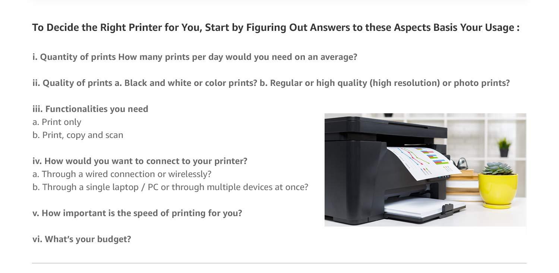 Decide the right printer
