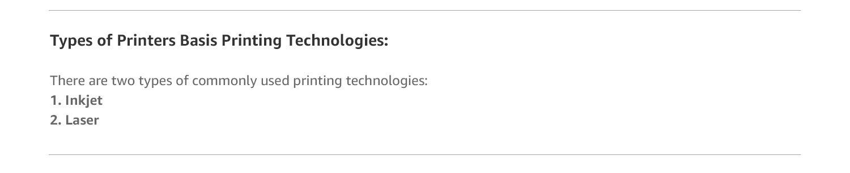 types of printer technology
