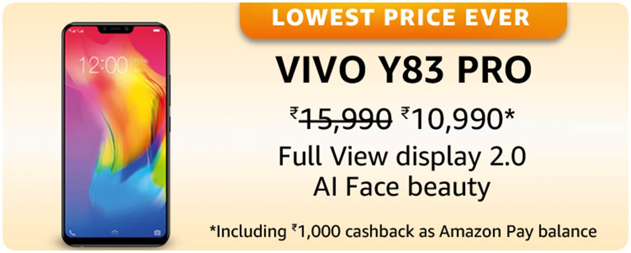 Vivo Y83 Pro at the Lowest Price of the Year offer