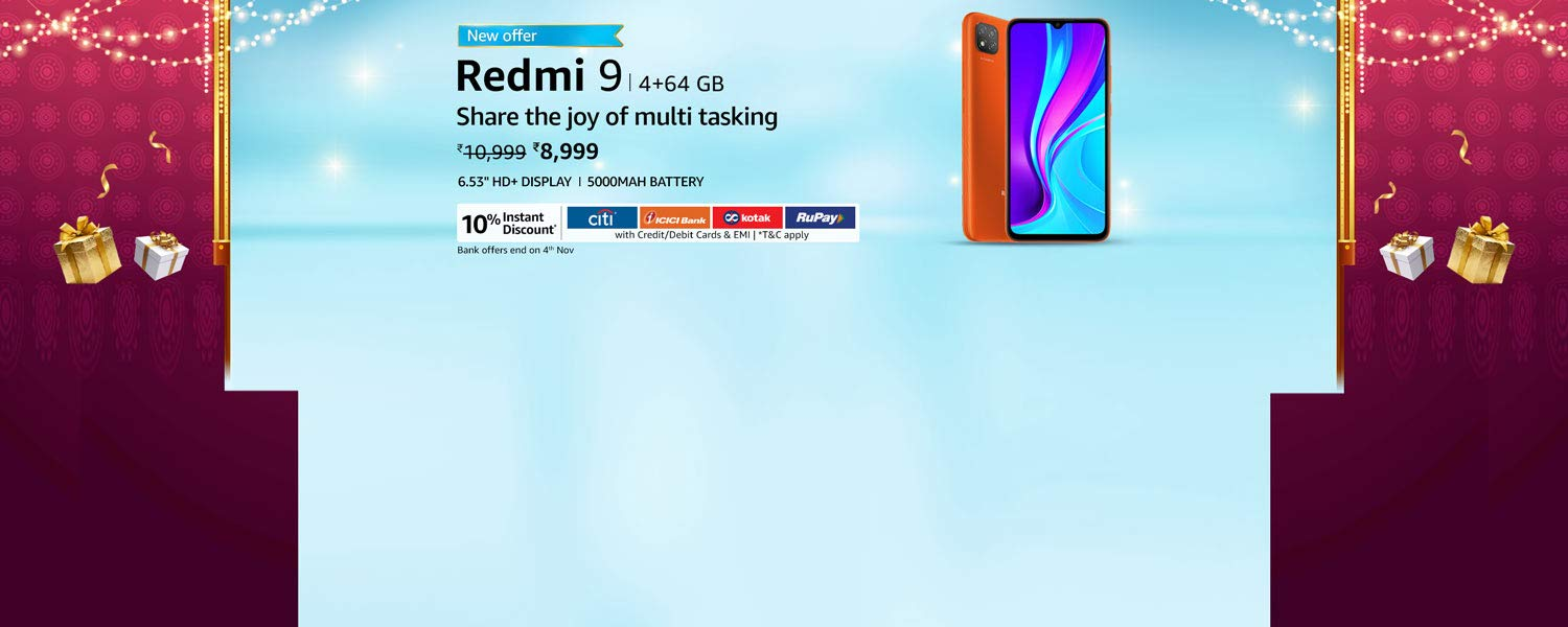 Amazon Latest Offers & Discount Codes - Redmi 9 Smart Phone @ just ₹8999