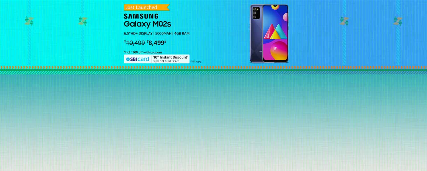 Amazon Offers Today-Coupons-Promo Codes - Samsung Galaxy M02s starting at just ₹8499