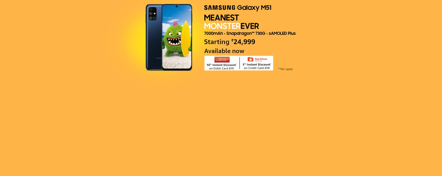 Amazon Latest Offers & Discount Codes - Get 5% discount on Samsung Galaxy M51 Smart Phone