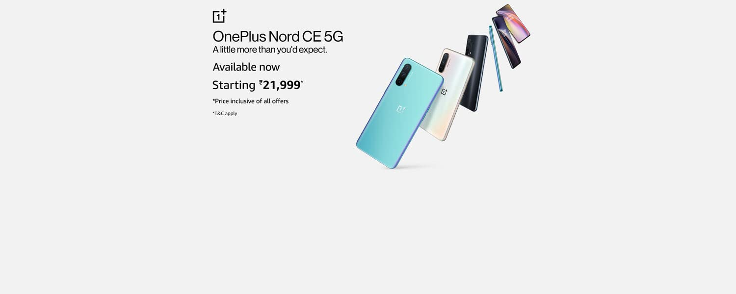 Amazon Offers Today-Coupons-Promo Codes - OnePlus Nord CE 5G SmartPhone starting at just ₹21999