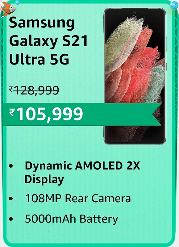 Amazon prime Day 2021 offer on Samsung Galaxy S21 Ultra 5G