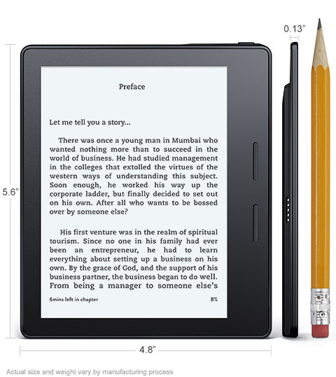 All-New Kindle Oasis With Leather Charging Cover, 6'' High