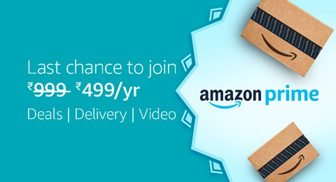 Last chance to join Prime at Rs.499 per year