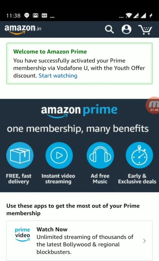 Start enjoying all the benefits after successful activation of your Prime membership.