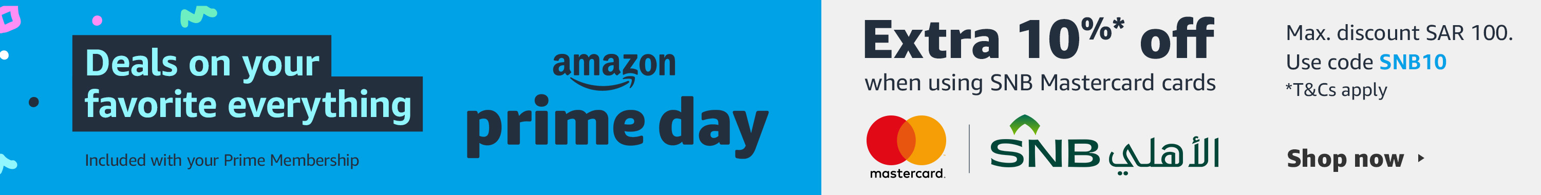 Amazon Prime Day, Extra 10% off when using SNB Mastercard cards