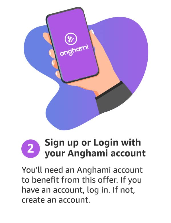 step2: Sign up or login with your Anghami account