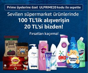 Seçili Market Ürünlerinde Prime Üyelerine özel 100 TL'lik Alışverişlerde 20 TL Sepette indirim
