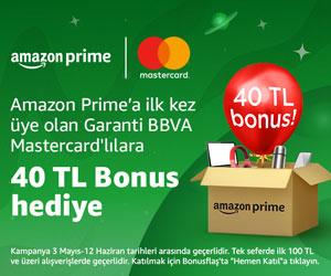Amazon Prime'a ilk kez üye olan Garanti BBVA Mastercard'lılara özel 40 TL Bonus hediye