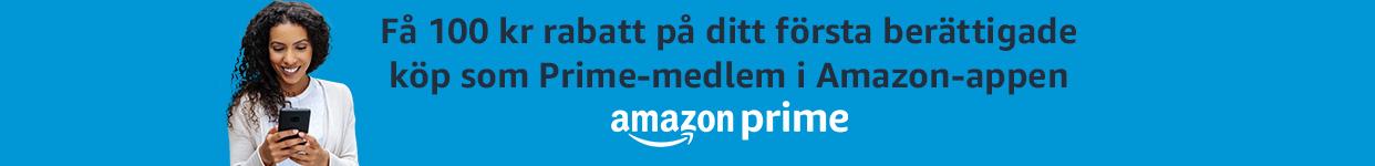 100 kr rabatt på ditt 1:a Prime-köp i Amazon-appen