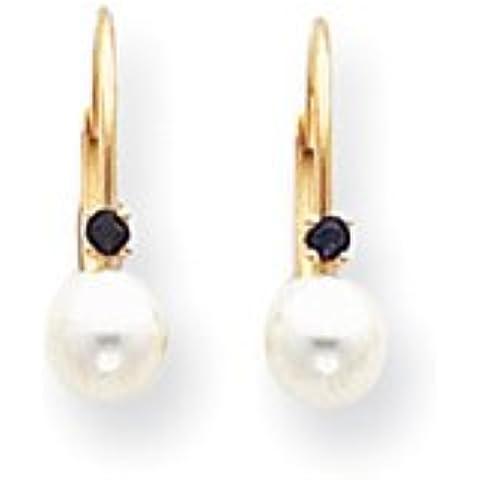 14k 5-5.5mm White Pearl & .03ct. Sapphire Leverback Orecchini di UKGems-5-5.5mm White Pearl & .03ct.