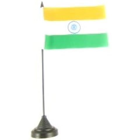 Mesa henbrandt 10,16 cm x 15,24 cm de la India de la bandera 100% poliéster con plástico negro palo y Base (1)