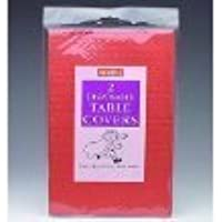 RED Paper Table cloths 2 per pack (Caroline){90cm x 90cm}