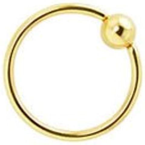 PiercedOff oro, trago IP, per sopracciglio, labbro, orecchio Anello BCR Captive adatto, 1,2 mm x lunghezza)