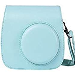 SAIKA Caméra Housse Compatible Fujifilm Instax Mini 9/8/8 + Appareil Photo Instantané avec sangle réglable et pochette pour film, Glace bleue