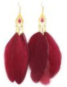 BONAMART ® Ohrstecker Tänder Stecker Feder Ohrringe Für Mädchen Ohrringhalter g410-10 Rot