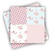 20 Servilletas de papel con patrón de patchwork de flores en color blanco