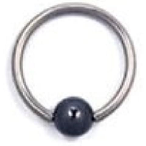 Piercing Boutique acciaio chirurgico BCR-Orecchini ad anello a cerchio con palline, ematite, spessore: 1,2 mm, barra: 16 x 6 mm, 4 mm, 1 pezzo
