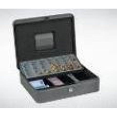 Caja de caudales plateada para monedas - bandeja para monedas de euro y para billetes