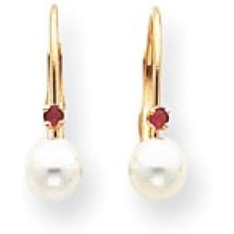 14k 5-5.5mm White Pearl & .02ct. Rubino Leverback Orecchini di UKGems-5-5.5mm White Pearl & .02ct. Ruby