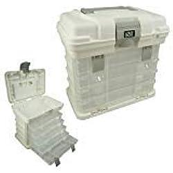 Lunar Box - Cajas de almacenamiento y transporte con 4 compartimientos ajustables, caja de manualidades, herramientas y costura