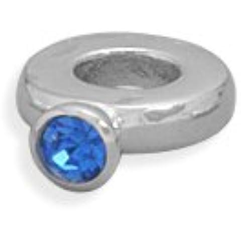Anello con perline di cristallo blu scuro argento Sterling settembre Birthstone anello Story Charm