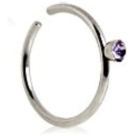Piercing naso in acciaio chirurgico Boutique cerchio anello con gemma colorata, 0,8mm 2mm (20g) X 8mm Diametro One Piece luce