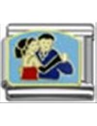 Pareja de baile de encanto italiano 9 mm a classic pulsera de nombramientos