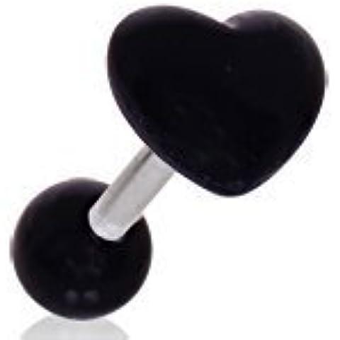 Negro en forma de corazón la oreja o para el acrílico/pendiente para el cartílago de la oreja