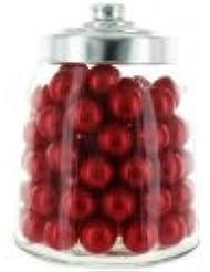 100 Perles de Bain parfum Fraise avec Bocal en verre forme bonbonnière