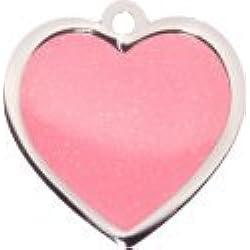 Personnalisé Médaille pour Chien en Forme de Coeur Rose et Paillettes (Grand) | Service DE Gravure | Médaille pour Animal Domestique Personnalisée Design Tendance