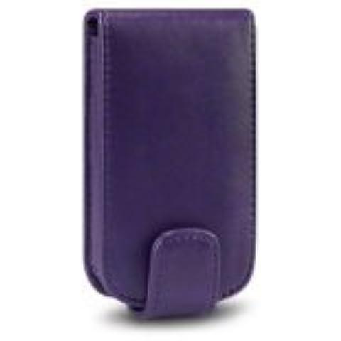 PCMOVILES -- Morado Funda de piel con tapa solapa para Nokia x3-02