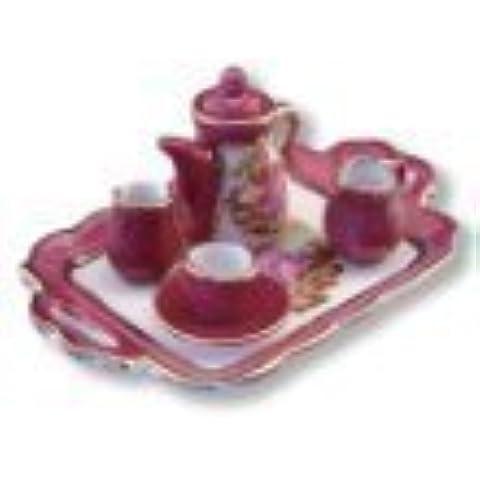 Dollhouse Miniature Limoges Style Tea Set w/Tray by Reutter Porcelain by Reutter Porcelain