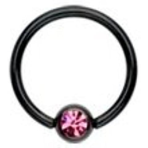 Piercing Boutique–Nero anodizzato BCR Anello Perline Orecchini con gemma colorata 14gauge (1,6mm, spessore barretta) X 12mm Diametro One Piece rosa Gem - Captive Ring 12 Gauge