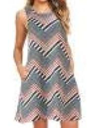 jieGREAT ☘ , Vestido de Verano sin Mangas con Estampado de Swing Mini Vestido de Mujer
