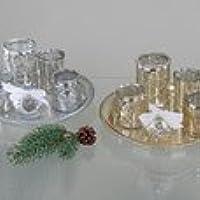 Set Plato con vasos color cromo cm 25Fotos SX