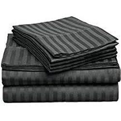 1200hilos juego de sábanas (elefante gris de rayas, Reino Unido King Size150X 200cm (5ft x 6ft 6in), Pocket Size 26cm) 100% de algodón egipcio Calidad premium