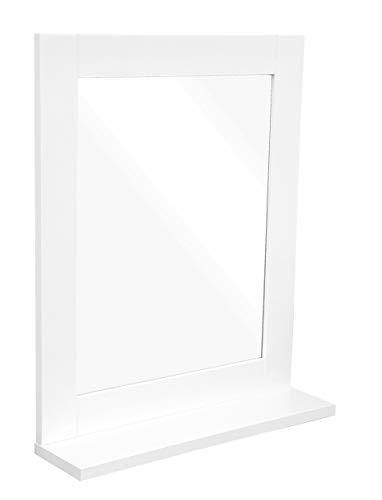 Osoltus Hampton - Espejo de baño con Estante para baño pequeño, Color Blanco