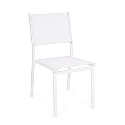 ARREDinITALY Lot de 6 chaises empilables pour étendoirs en Aluminium et textilène Blanc