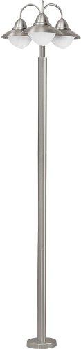 Außen Stehleuchte Modell SIDNEY / 3 flammig / in Edelstahl und weißem satiniertem Glas / HV 3 x E27 max. 60 W / exklusive Leuchtmittel / Schutzgrad IP 44 / Höhe 220 cm / Ø 60.0 cm / Sockelplatte Ø 20.0 cm