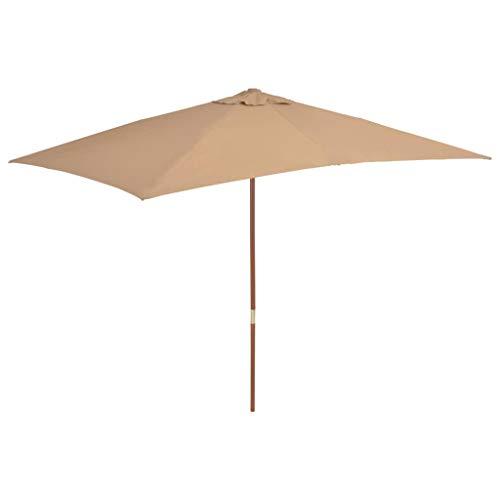 vidaXL Parasol d'Extérieur Mât en Bois 200x300 cm Taupe Jardin Plage Terrasse