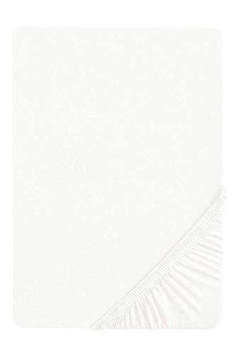 biberna 77144 Jersey-Stretch Spannbetttuch, nach Öko-Tex Standard 100, ca. 180 x 200 cm bis 200 x 200 cm, weiß