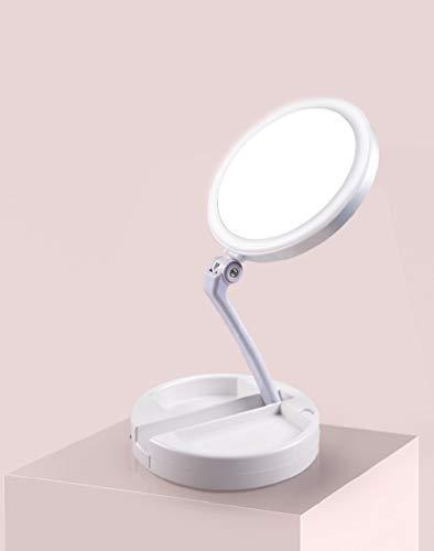 Zodight Specchio LED Trucco Specchio con Luce Regolabile LED Make Up da Tavolo Ingrandimento 1X / 10X con USB Specchio Illuminato Ricaricabile Portabile Pieghevole Cosmetico Luci con Specchio LED