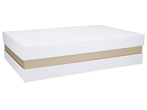 Premium+ Geschenkbox Geschenkverpackung Weiß, Gold metallic 33x22x8 cm Geschenkkarton Schachtel